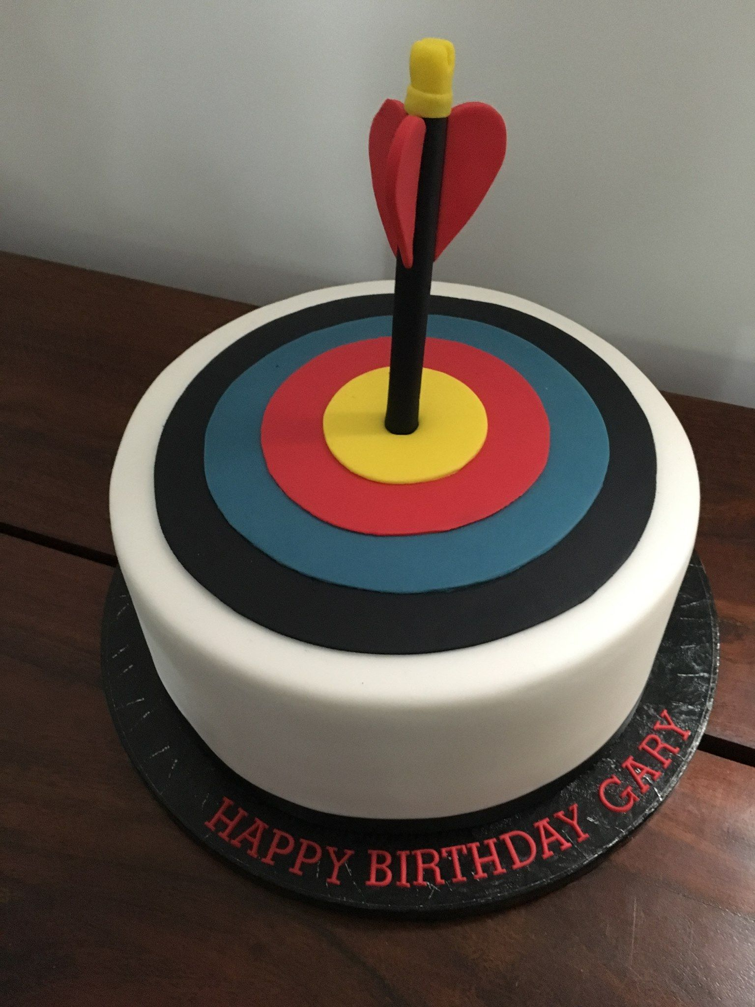 Archery target cake fondant cakes birthday cake