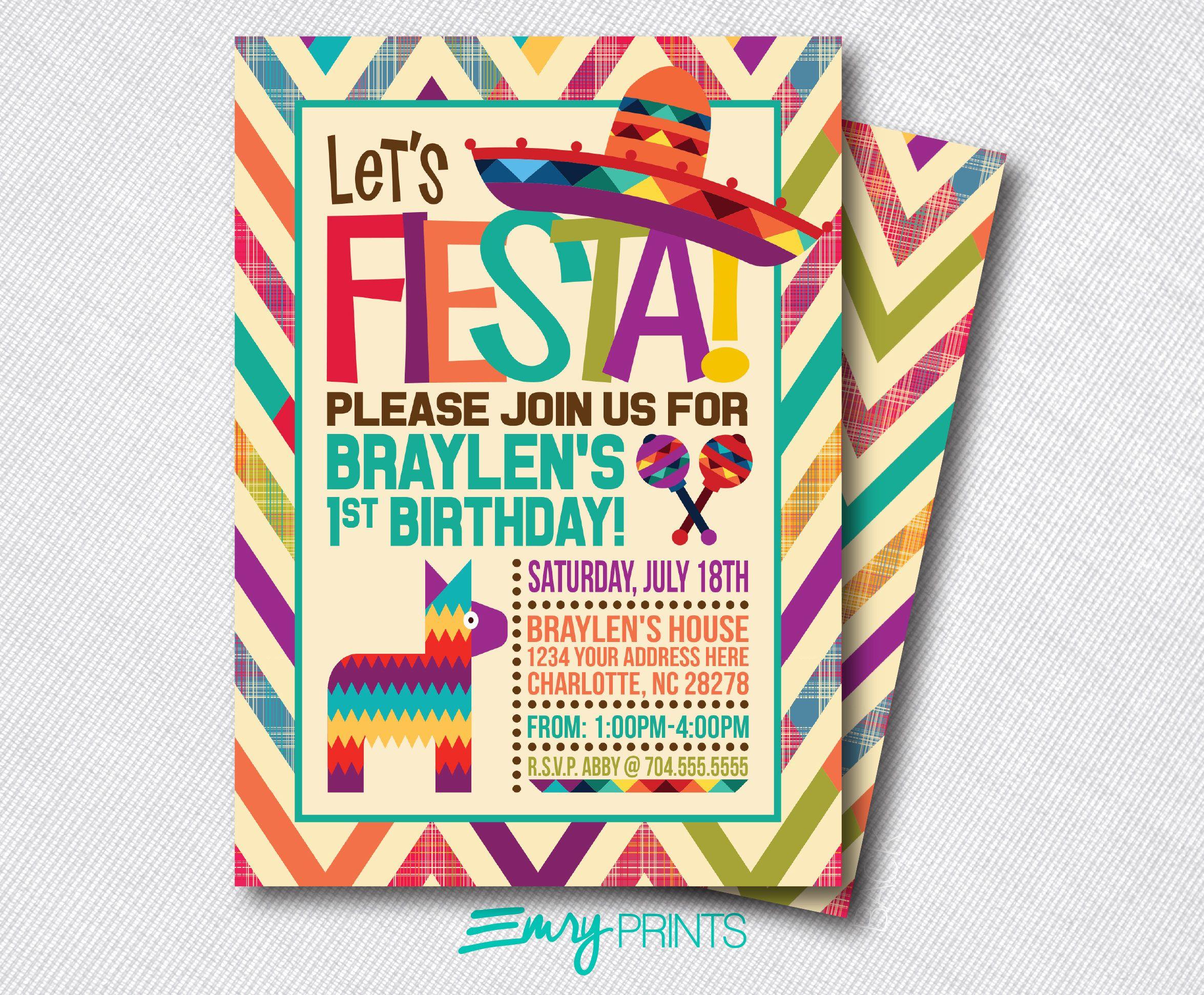 Fiesta Birthday Invitation / Fiesta Birthday Invitation / Fiesta ...