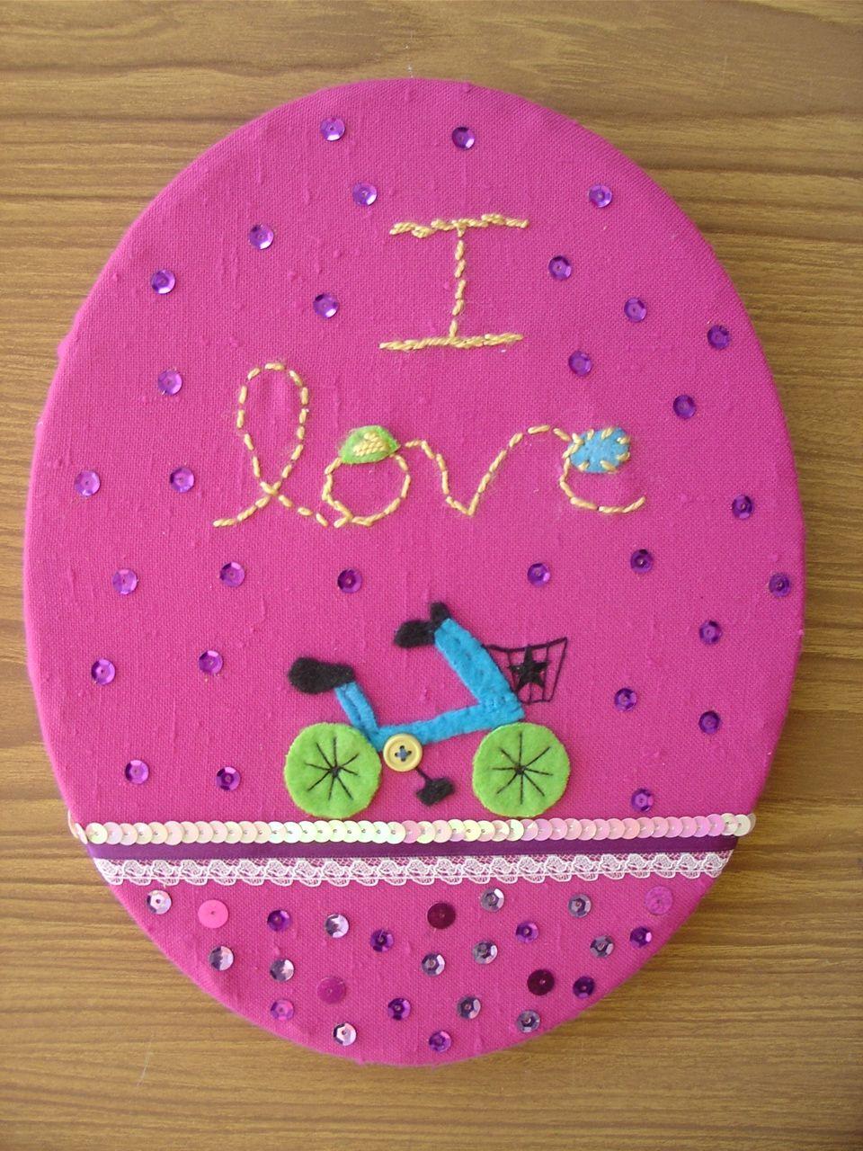 Bordado y aplicaciones sobre tela. Yanine Gribnicow #Bicicleta #ciclismo