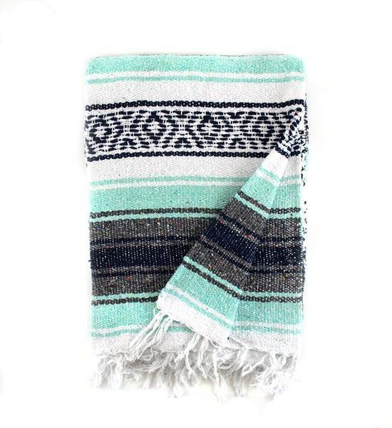 Mexican Blanket Premium Aquamarine Mint Grey Yoga