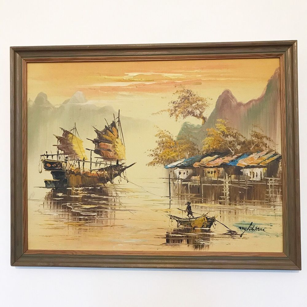 Stylish Mid Century Vintage Oil on Board Painting Chinese Junk Wall ...