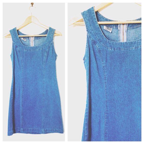 1e1c6df79b Vintage 1990 s Women s Best World Brand  BWB Light Blue Denim Dress- Size  Medium
