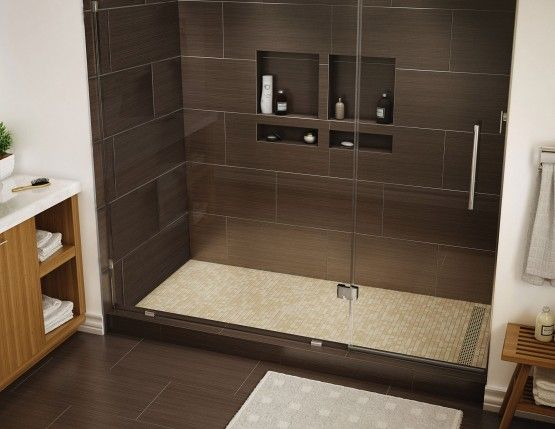 Redi Trench Shower Pan, 48 X Right Linear Drain, Single Curb, Brushed  Nickel Designer Grate