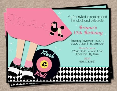 Printable Sock Hop Birthday Invitation PerfectFavors Digital Art