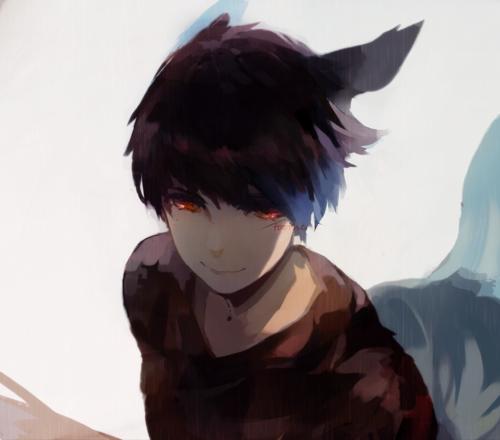 anime anime guy cool red eyes Anime art dark