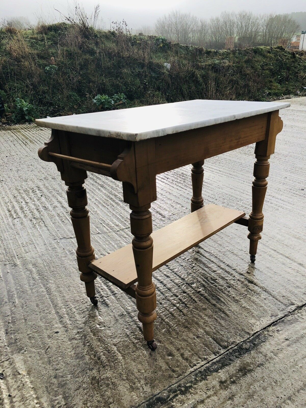 Stunning Antique Pine And Marble Top Kitchen Island Cart On Castors Ebay Marble Top Kitchen Island Marble Kitchen Island Antique Kitchen Island