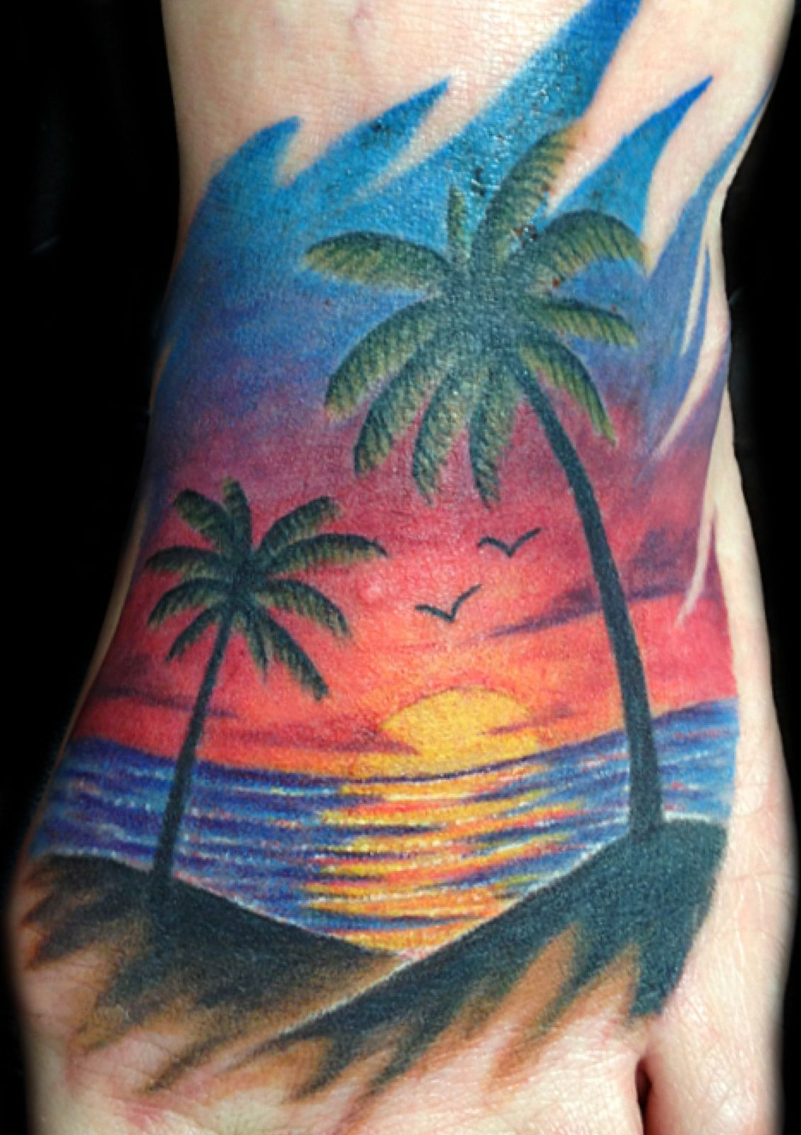 freehand beach sunset with palm trees sunset tattoos karma tattoos and custom tattoo. Black Bedroom Furniture Sets. Home Design Ideas