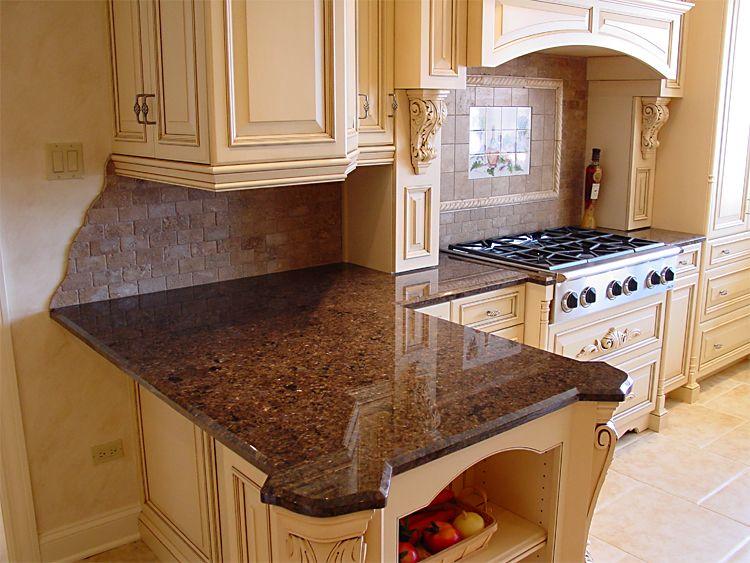 Good Backsplash With Labrador Antique Granite Kitchen Kitchen