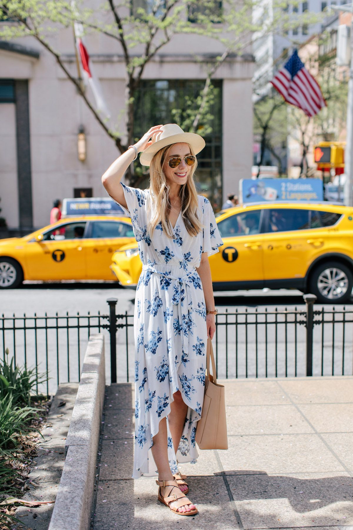 1 Floral Wrap Dress 2 Ways Day To Night Travel Style Tip Blue And White Summer Dresses Wrap Dress Floral Blue Dress [ 1800 x 1200 Pixel ]