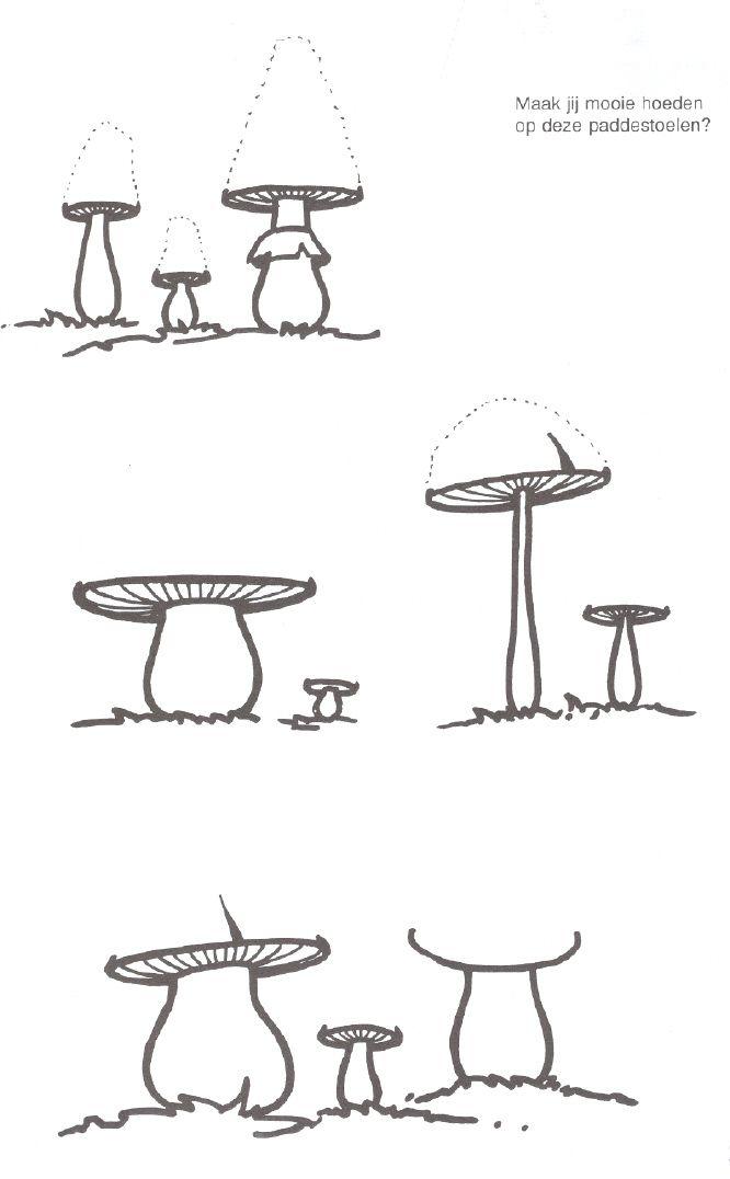 schrijfpatronen: hoge hoed van paddenstoelen