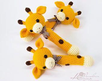 Giraffe Rattle Crochet Rattle Baby Rattle Toy Cotton Crochet Toy