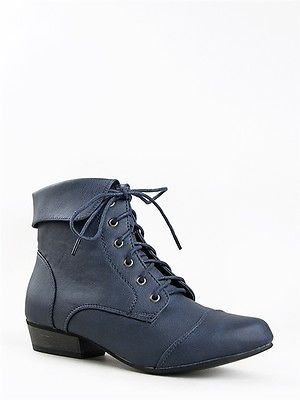 39e5e138e2a68 NEW-BRECKELLES-Women-Fold-Cuff-Oxford-Laced-Ankle -Boot-Booty-sz-Navy-Blue-indy11