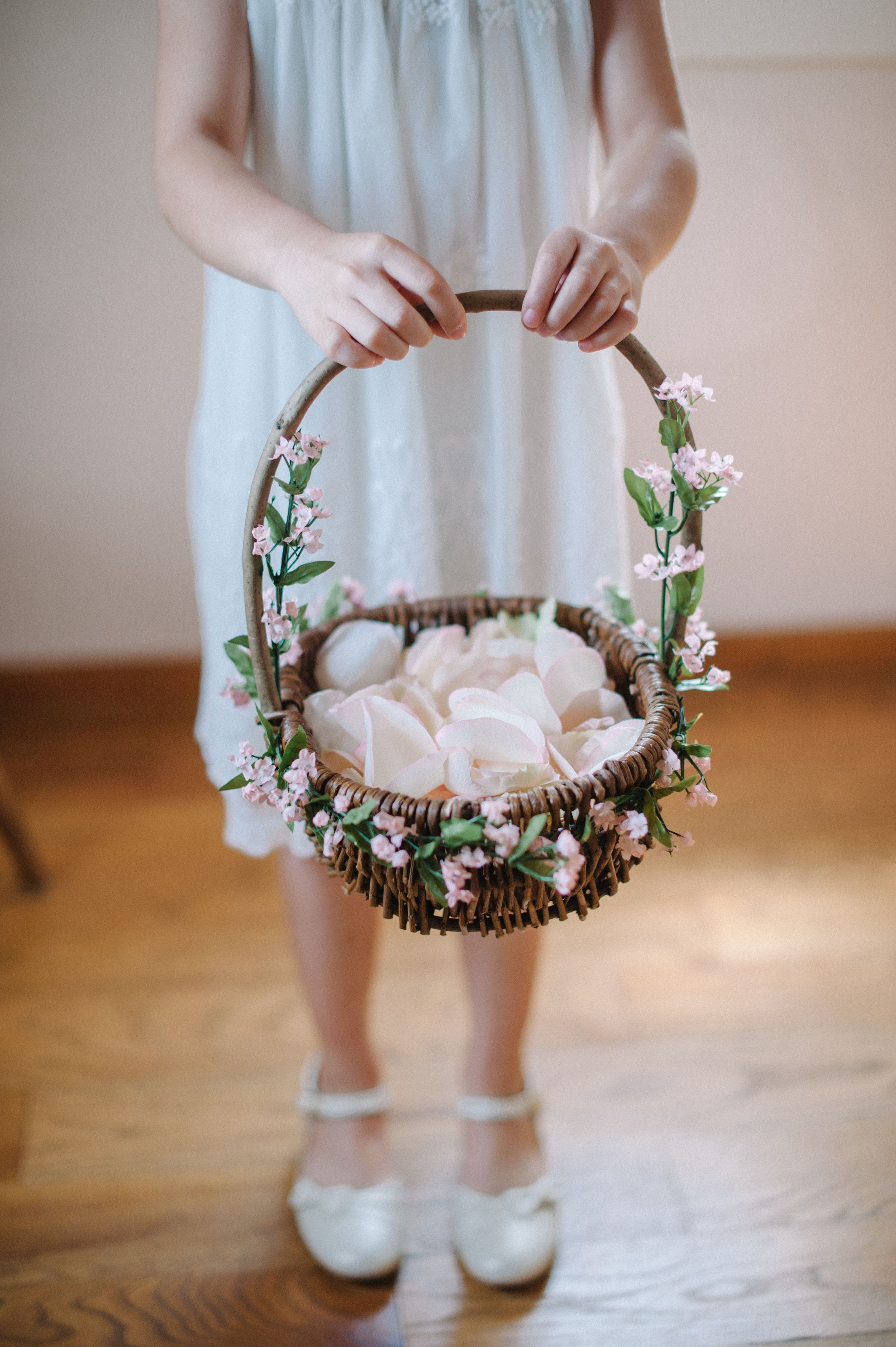 Flower Girl Basket With Pink Flowers Wedding flower girl