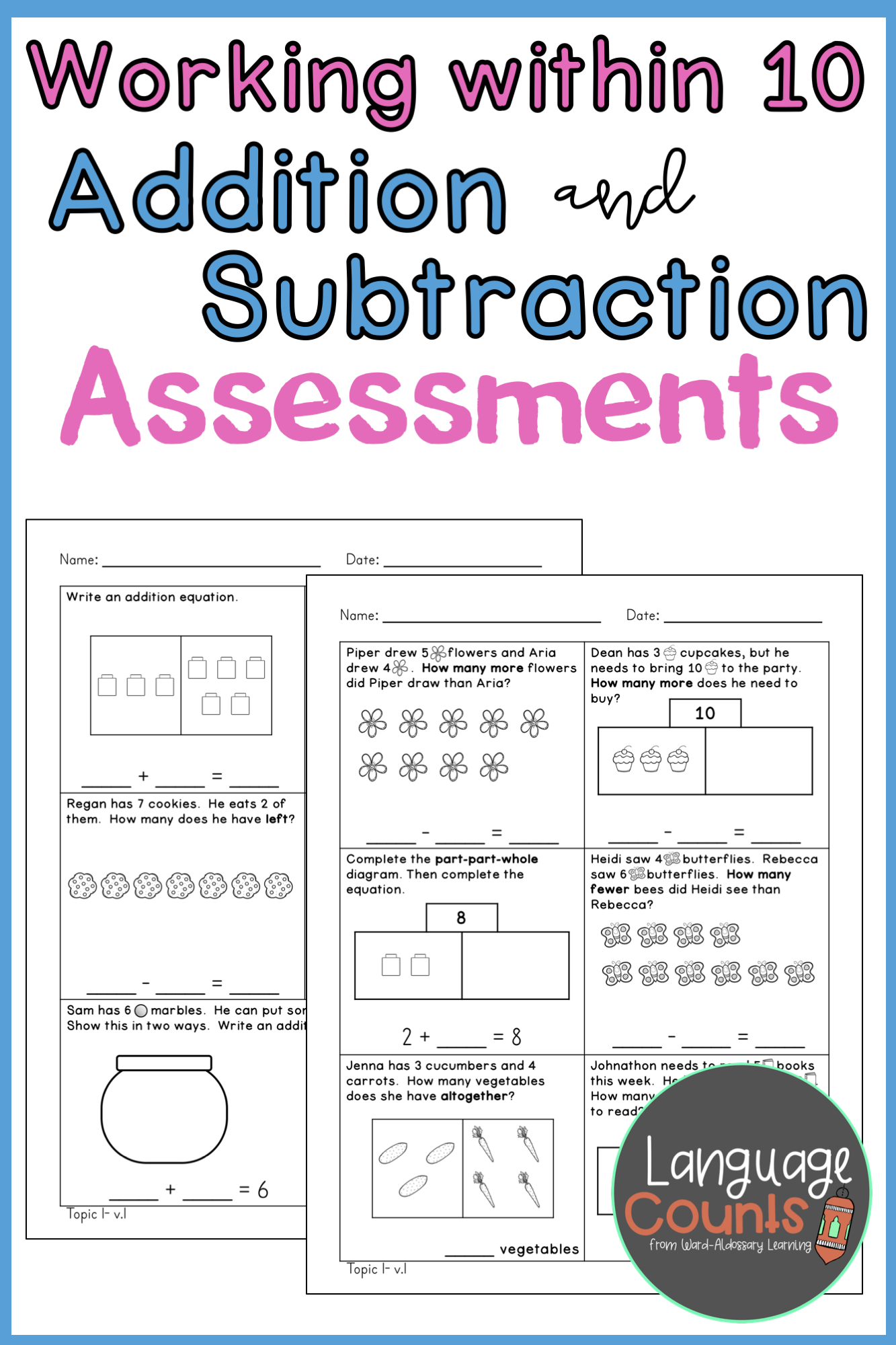 Assess Your Students Mastery Of Addition And Subtraction Concepts With Word Problems To 10 Wi Word Problems Addition And Subtraction Subtraction Word Problems [ 2000 x 1333 Pixel ]