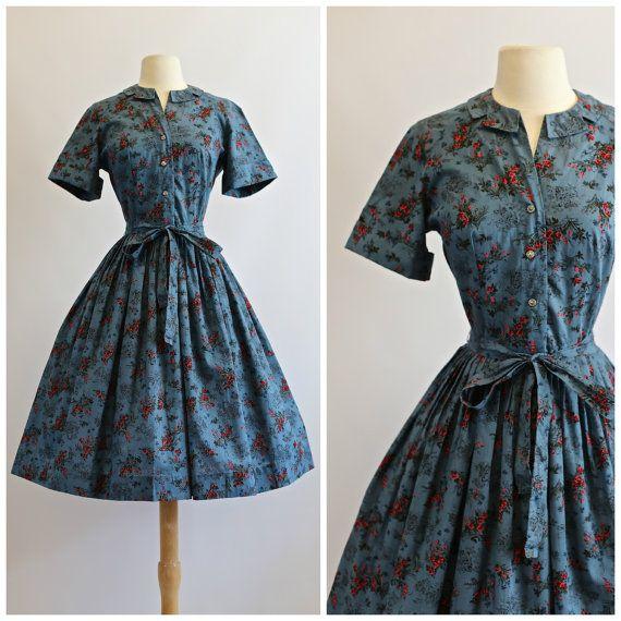 Vintage 1950s Novelty Print Dress  Vintage 50s by xtabayvintage