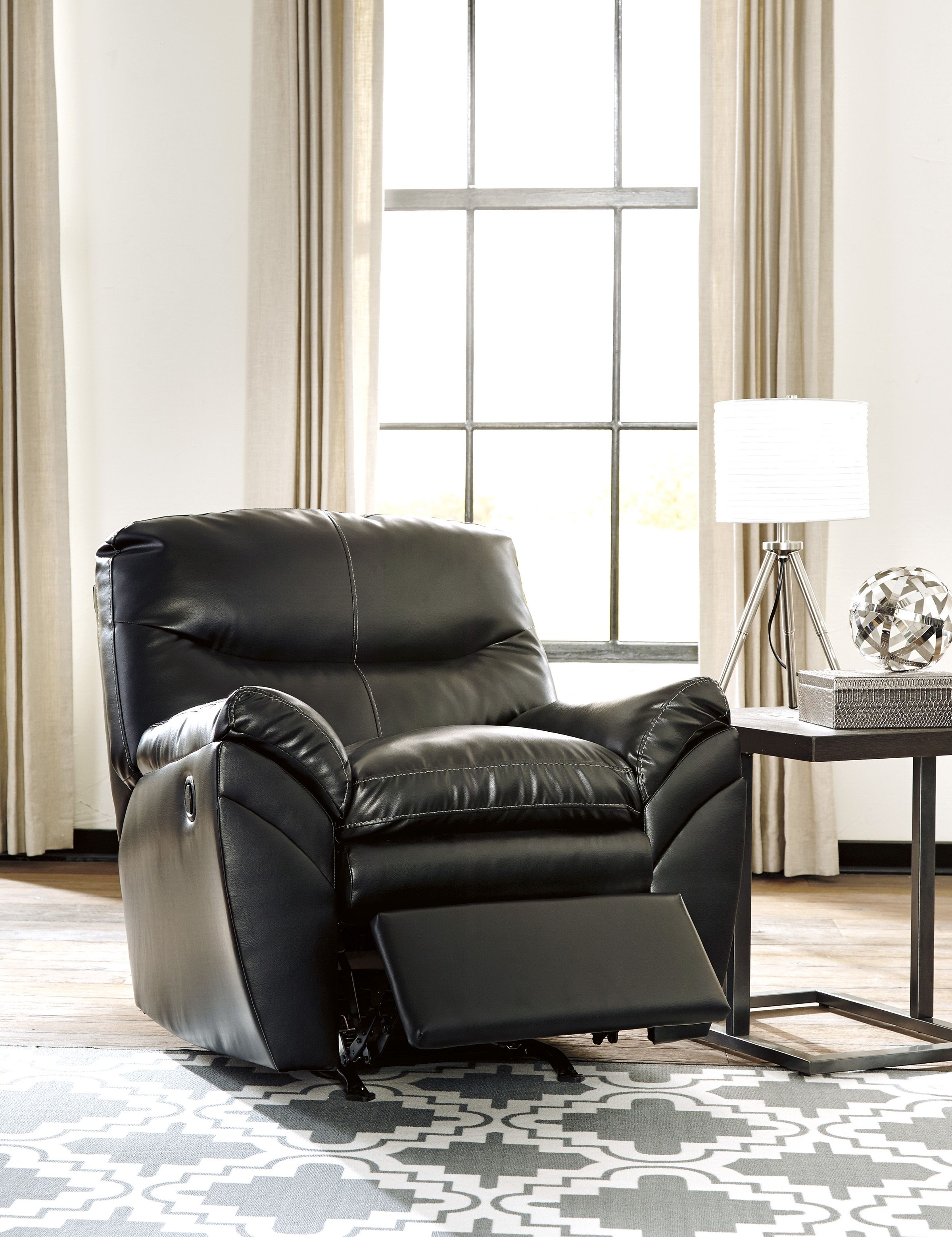 tassler durablend contemporary black polyester pvc rocker recliner
