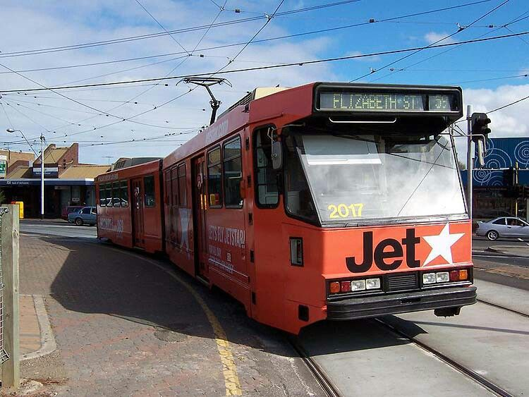Melbourne Tram B2.2017 advertising JetStar on a route 59 service at Niddrie, Saturday, 20th March 2004, Photo: Robert Tilley