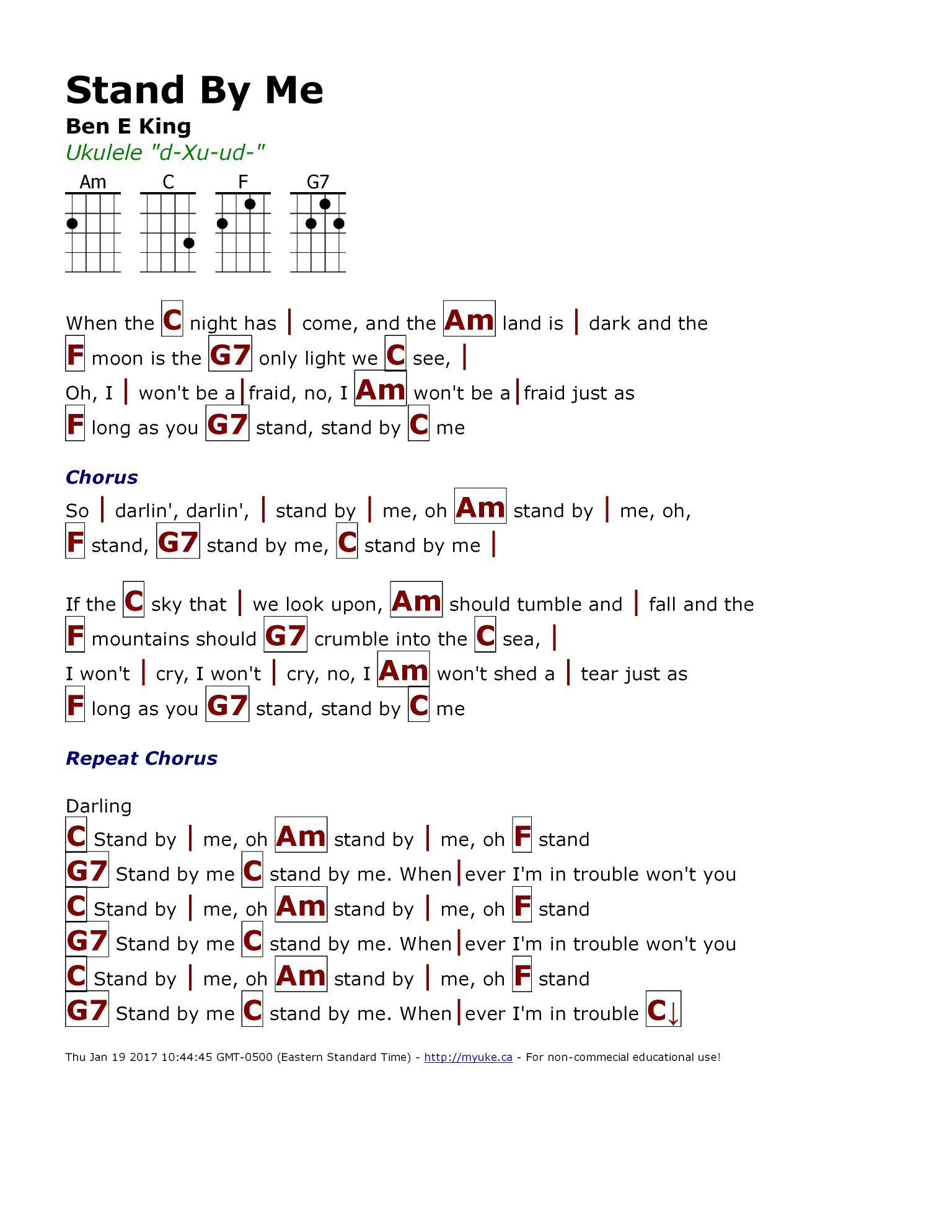 Stand by me ben e king httpmyuke songs pinterest guitar chord chart hexwebz Image collections
