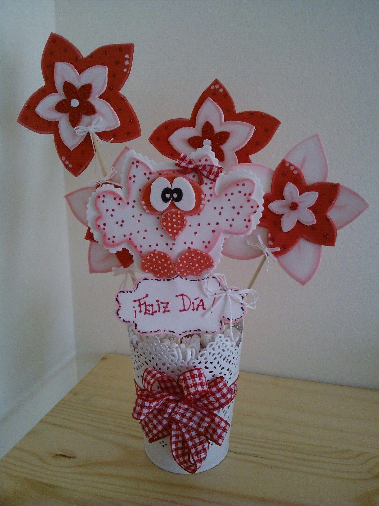 Maceta decorada con b ho y flores de goma eva macetas - Flores de goma eva ...