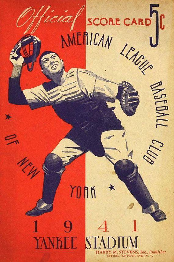 1941 NEW YORK YANKEES print - Vintage Baseball Poster   Pinterest ...