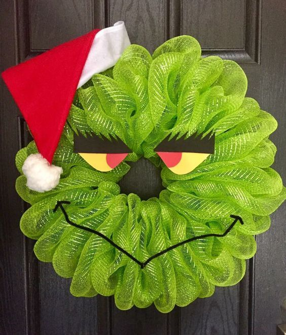 Deco Mesh Grinch - brottbacken #holidaycraftschristmas