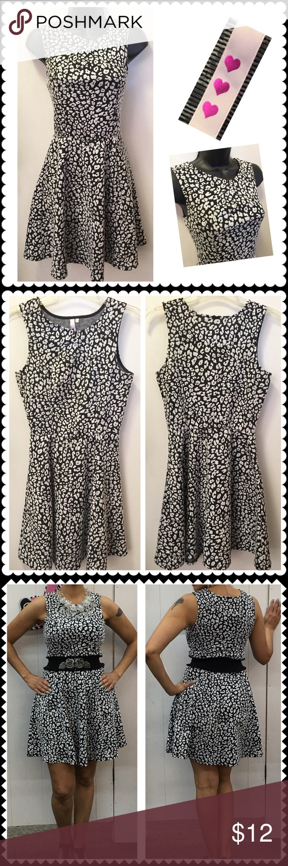 Black/White knit skater dress Sz Small Black and white print knit skater dress by ❤️❤️❤️. Sleeveless. Stretch. Looks great with belt (belt in photo for display only). Sz Small Dresses Mini