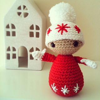 Winter Dolls:  Nat ( Medium Size Red Doll Approx. 16cms Tall)~ Free PDF Pattern