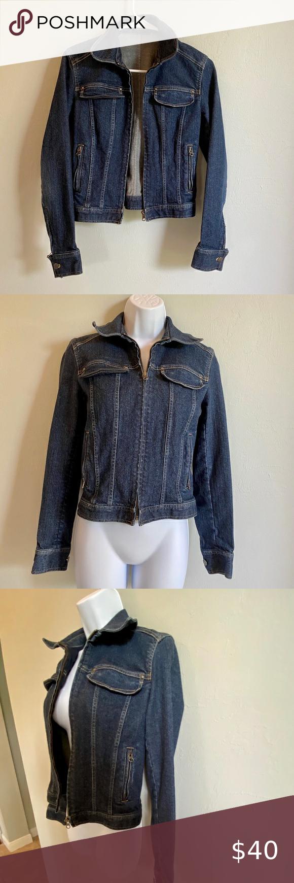 Tahari Jean Jacket With Zipper Xs Fitted Denim Jacket Coats Jackets Women Tencel Jacket [ 1740 x 580 Pixel ]