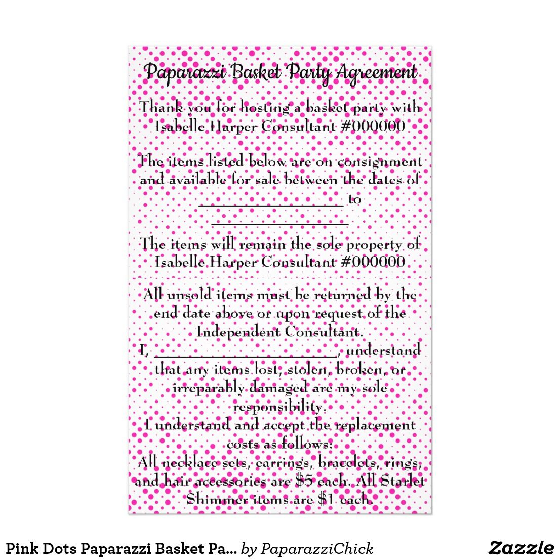 Paparazzi Basket Party Agreement Printable Topsimages