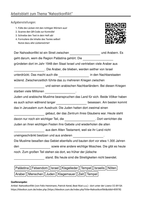 Arbeitsblatt Mit Luckentext Zum Thema Arbeitsblatter Aufgabenstellung Konflikt