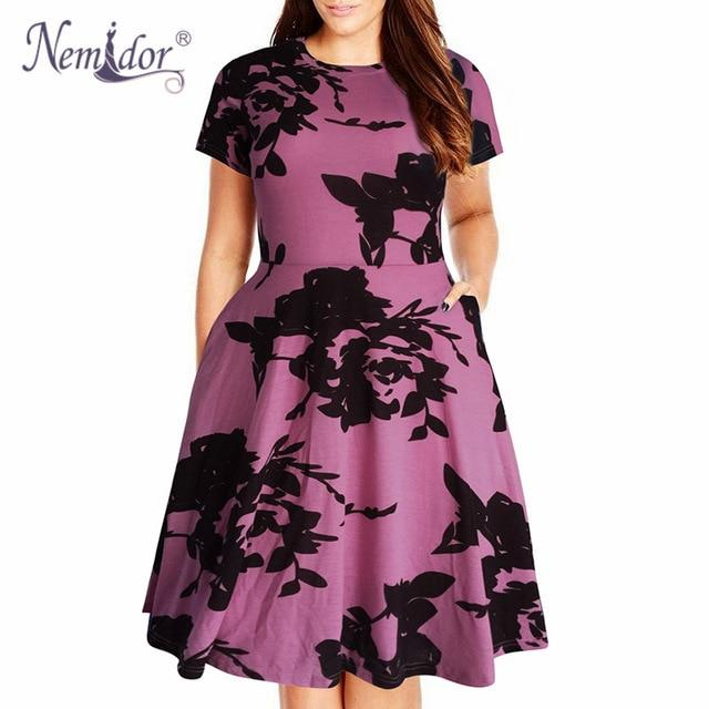 Nemidor Womens Round Neck Summer Casual Plus Size Fit and Flare Midi Dress with Pocket