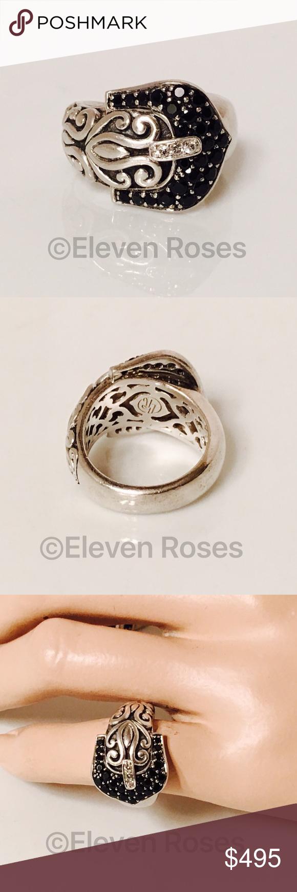 ae93ab078 Yasmin & Jazmin Sapphire Diamond Buckle Ring Yasmin & Jazmin Black Sapphire  & Diamond Buckle Ring - 925 Sterling Silver - Black Sapphire Gemstones -  Diamond ...