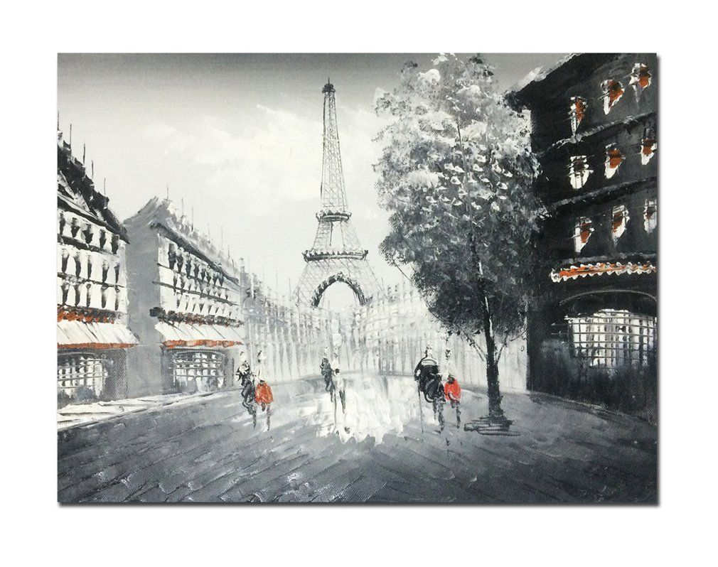 Muzagroo Art Oil Paintings Hand Painted Paris Eiffel Tower Wall Pictures On Canvas Stretched Ready To Hang Home Decor Accessories The Stories Of
