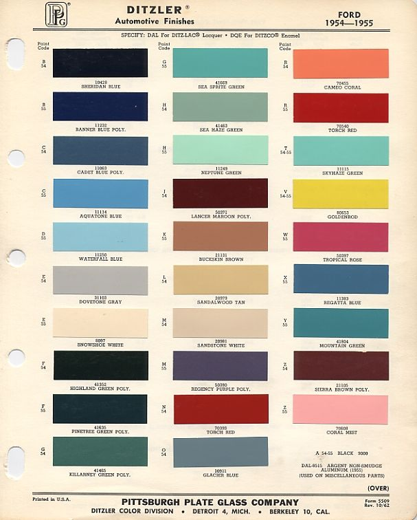 1956 F100 Paint Colors 1955 Ford Color Codes And This Original Chart