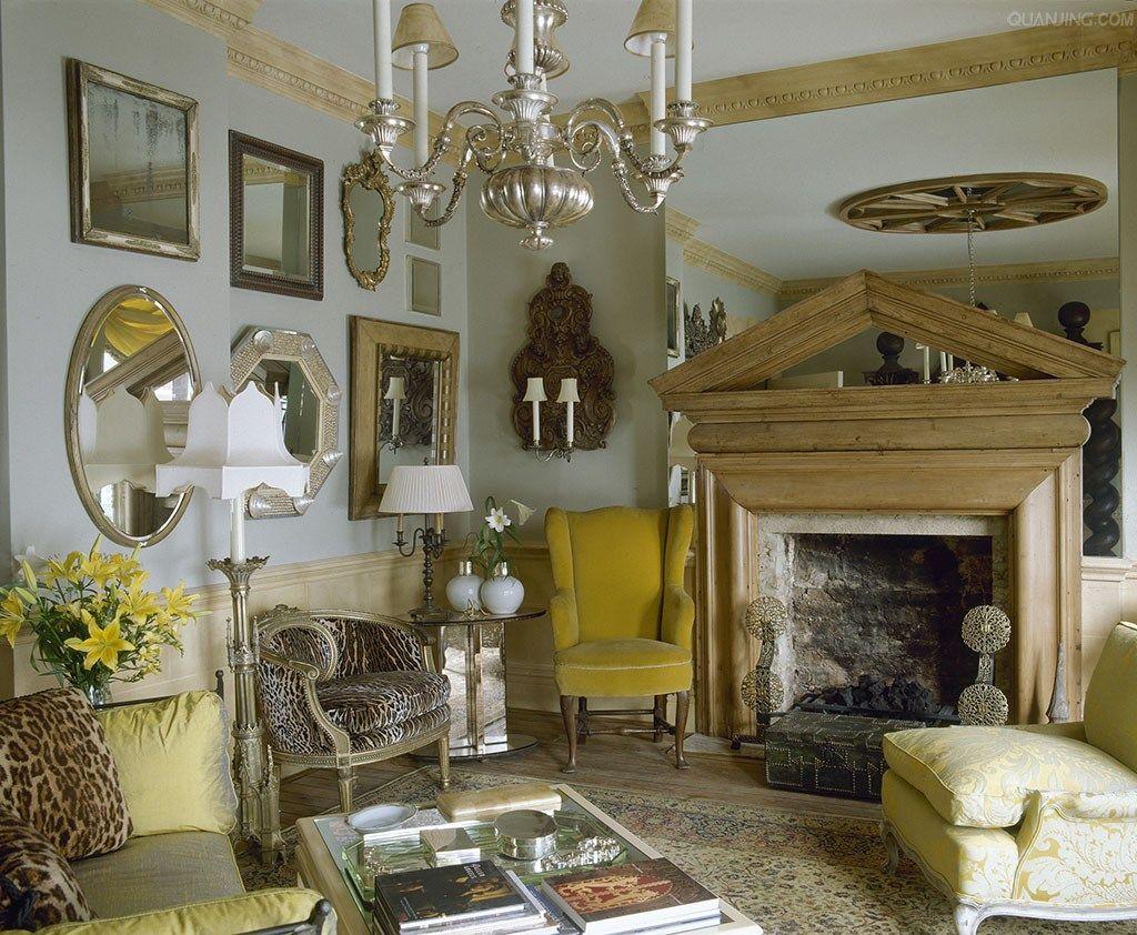 elegant, angled English sitting room with animal print and mirrors