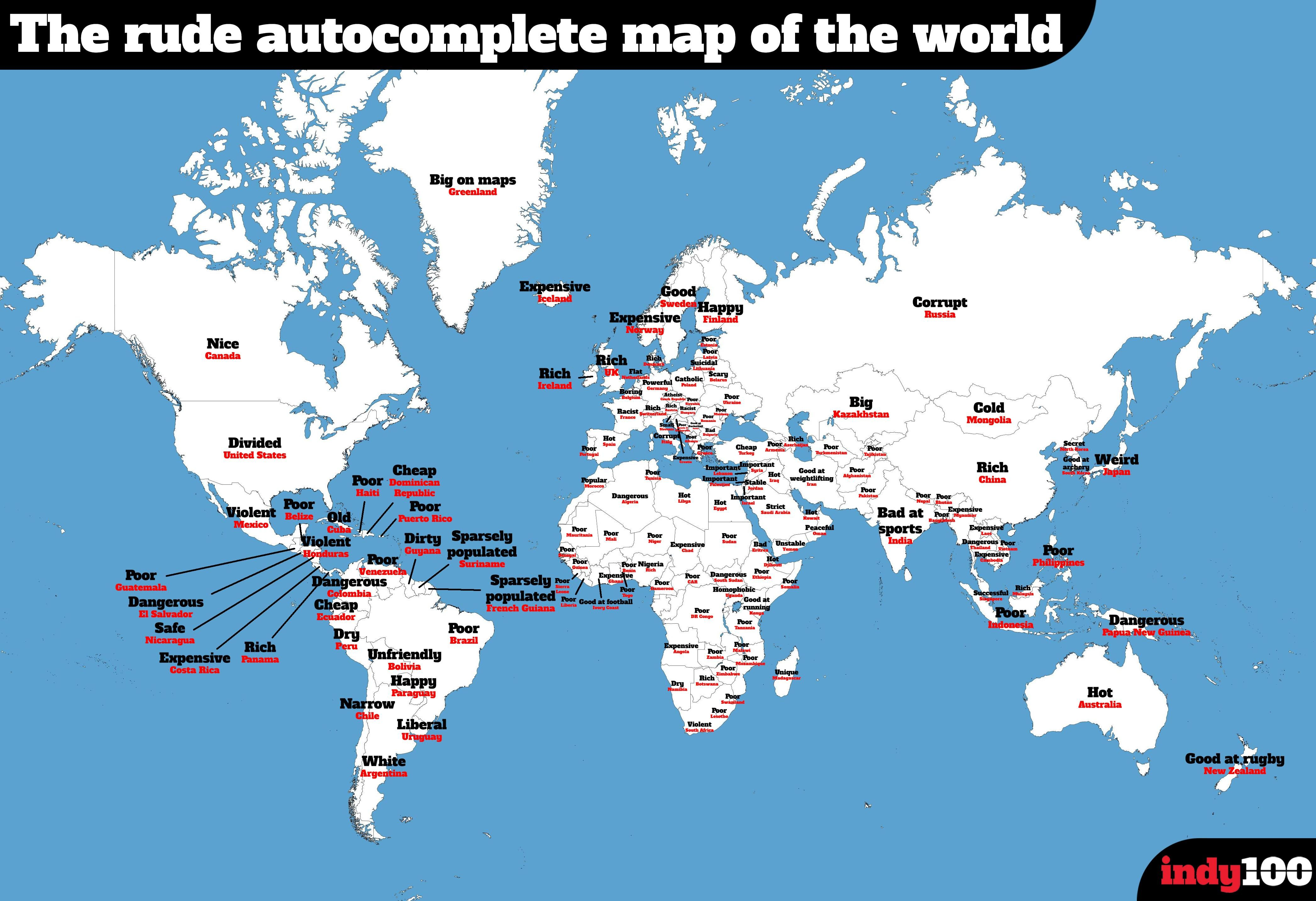 The Offensive Map Of The World According To Uk Google S Autocomplete