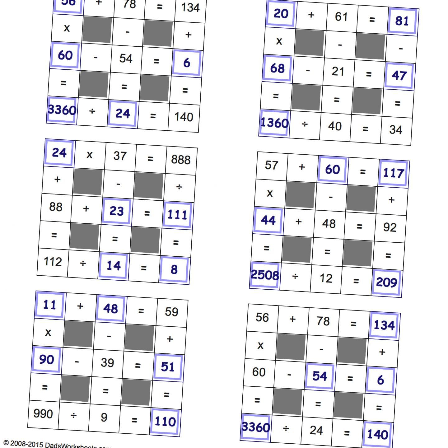 Grid Puzzles All Operations With Missing Values Large