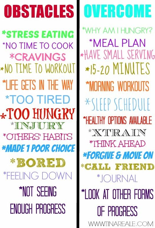 Tips for overcoming common healthy eating and workout obstacles. www.tinareale.com