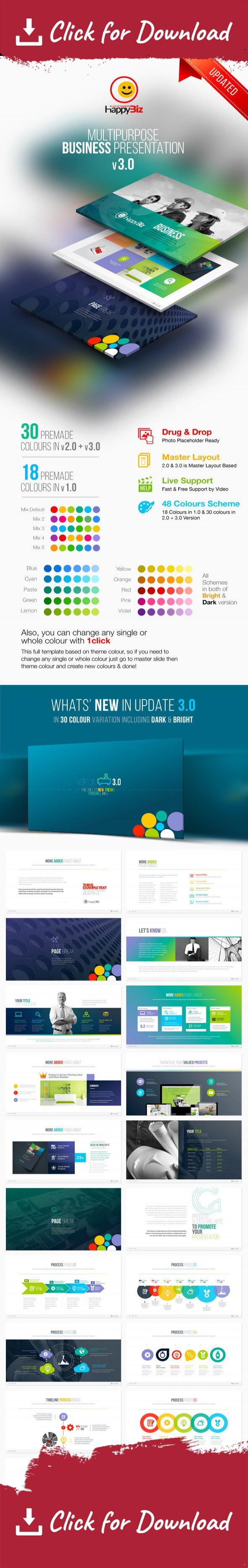 happybiz multipurpose business template | data charts and business, Presentation templates