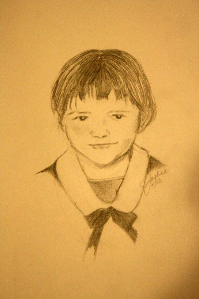 Jackie, Pencil sketch by Jacqueline Zuckerman