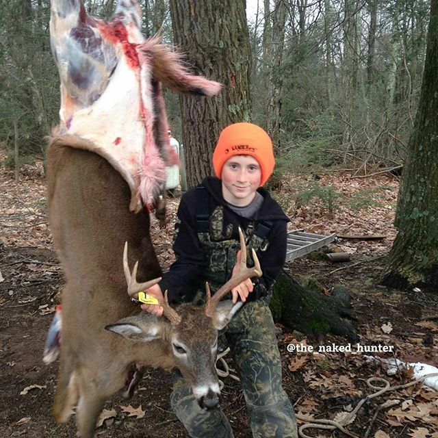 Who field dresses their game?  We often do but we also pack out meat and its much easier to carry on our backs once it has been boned out.  A nice whitetail buck taken by Brock Bogart @brockbogart with the Winchester 25 Super Short magnum at 200 yards in Benton Pennsylvania. Promote Hunting or it shall Perish learning more at http://ift.tt/1hIKQNh