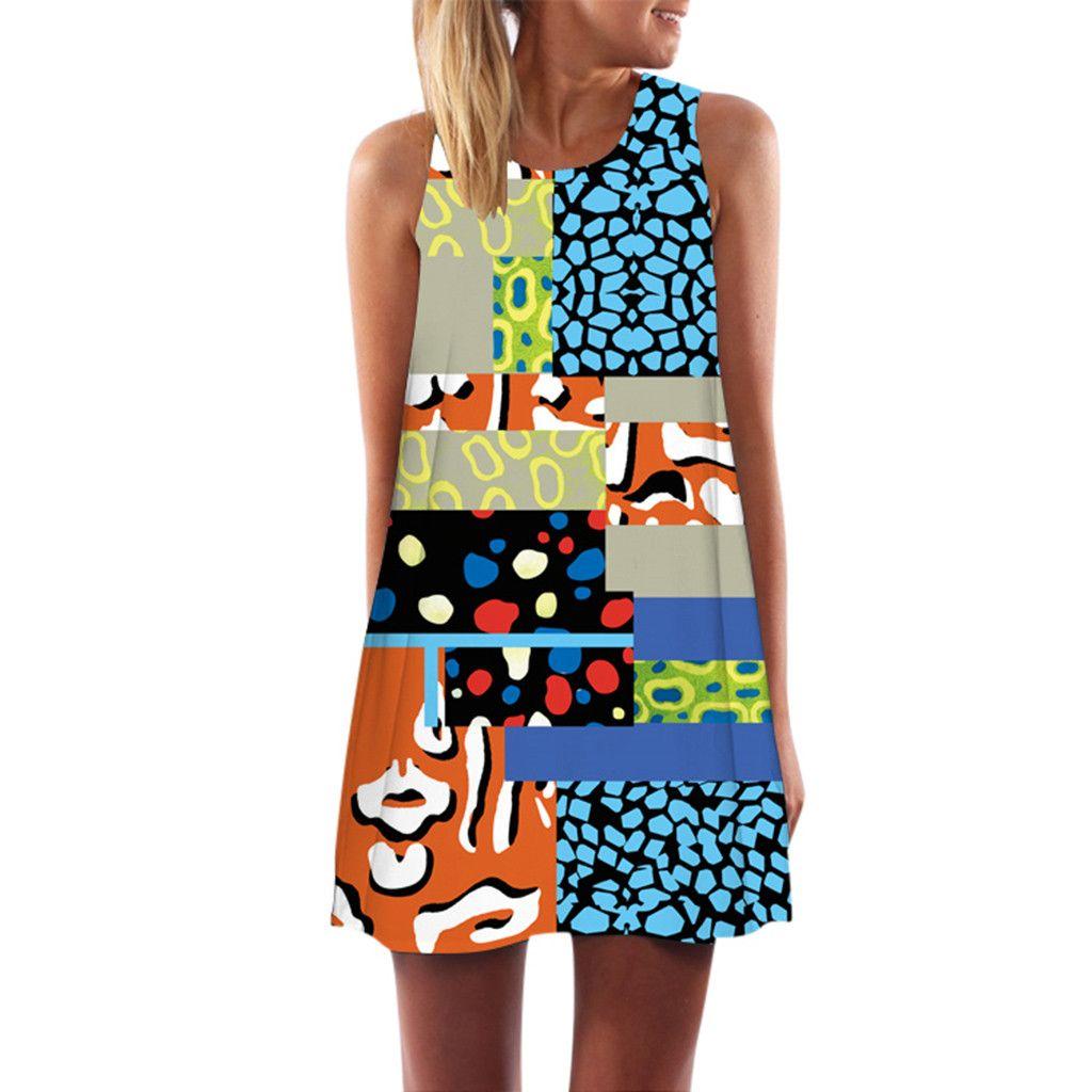 Photo of Women Vintage Boho Summer Sleeveless Beach harajuku Printed Short Mini Dress