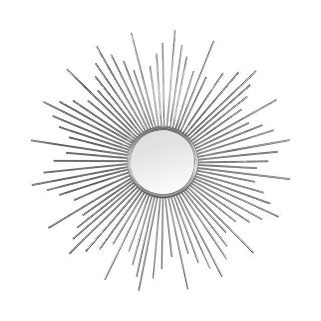 Miroir soleil argent tige m tal 80 cm castorama h o m for Miroir argent castorama