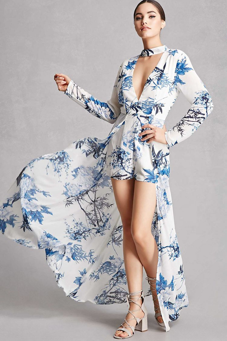 fb934ab9781945 A chiffon woven skort romper by Selfie Leslie trade  featuring a floral  print