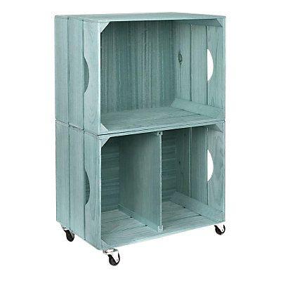 Meuble de rangement en bois   Bleu aigue-marine  75 x 32 x 50 cm