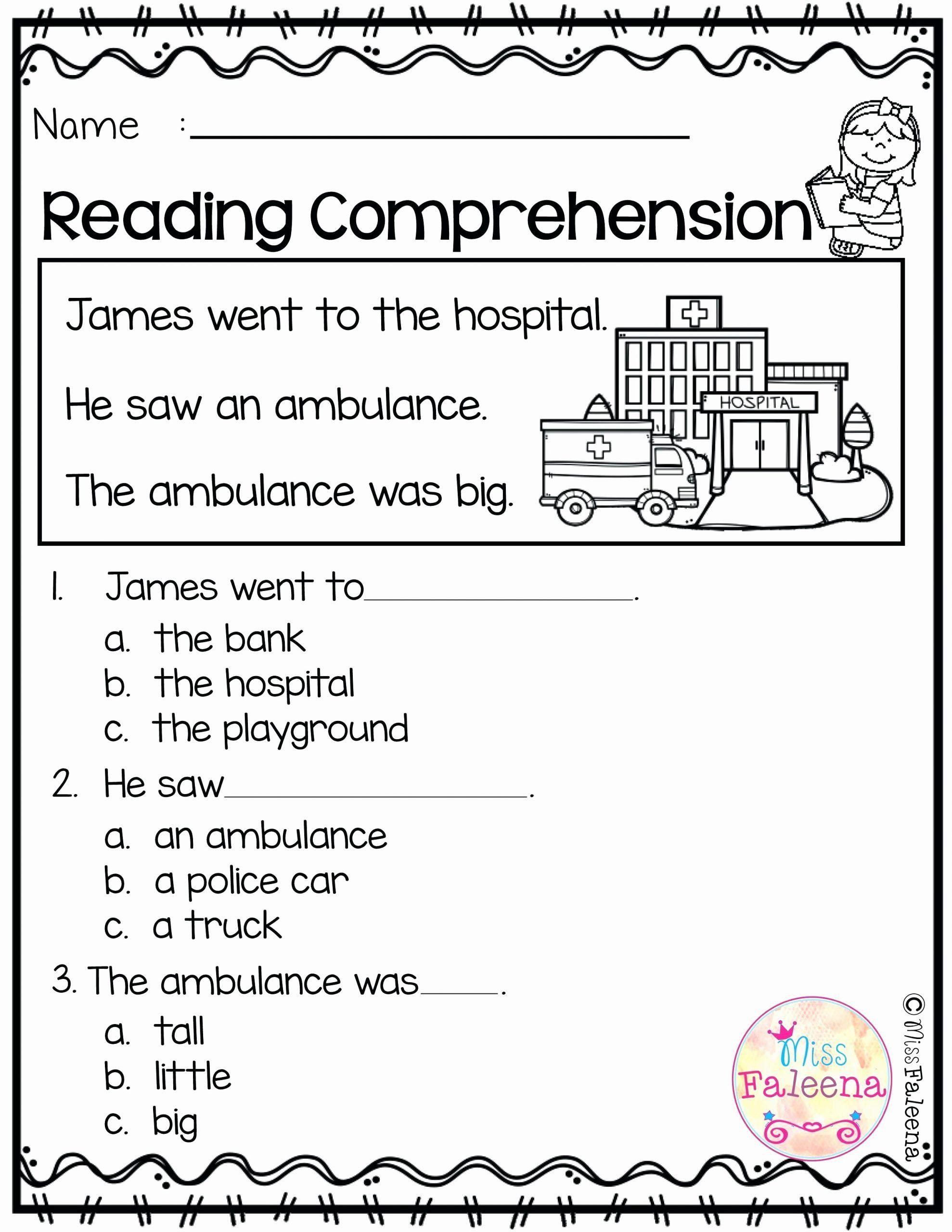 Kindergarten Reading Comprehension Worksheet In