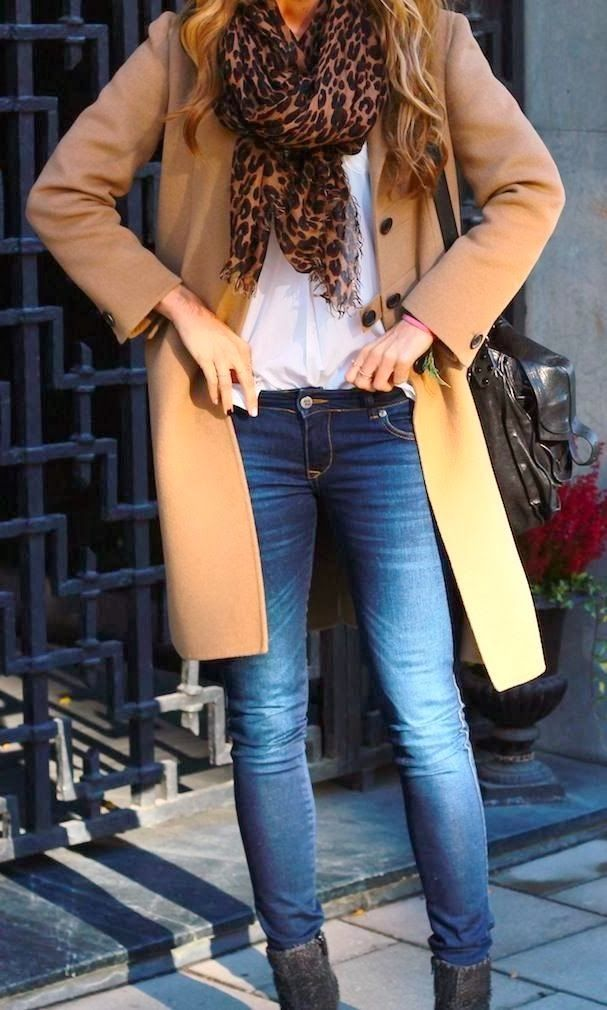 Fall With Skinny Jeans, Leopard Scarf and Camel Coat