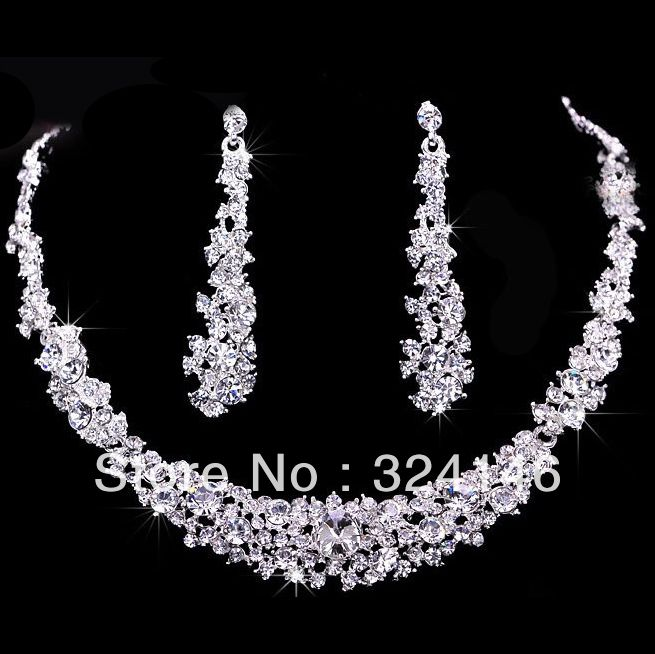 Free Shipping Crystal Bridal Jewelry Sets Hotsale Necklace Earrings Cheap Wholesale US 1060