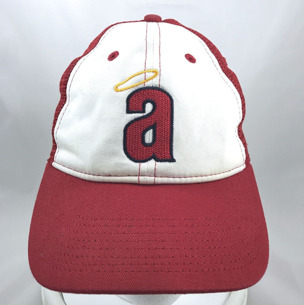 official photos f62d4 2dd5b ... discount code for vtg nike california angels mlb red white trucker snapback  hat cap los angeles