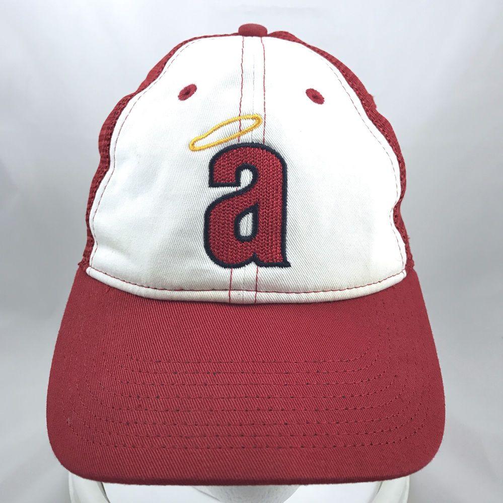 bc4cd66e3696b Vtg Nike California Angels MLB Red White Trucker Snapback Hat Cap Los  Angeles  Nike  TruckerHat